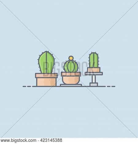 Cactus Plant Vector Icon Illustration. Plant Cactus Cartoons