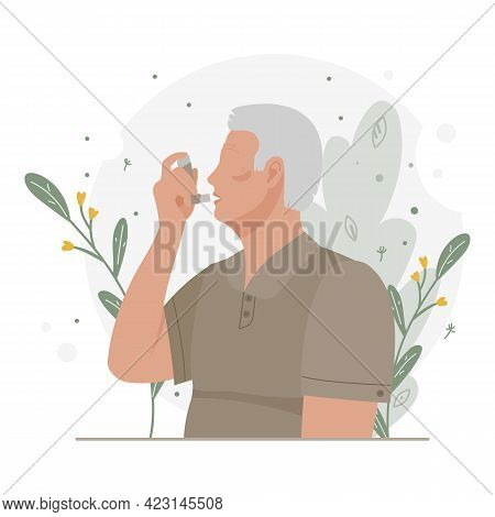 Old Man Uses An Asthma Inhaler Against An Allergic Attack. World Asthma Day. Allergy, Asthmatic. Inh