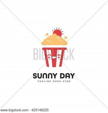 Cute Sunny Day Popcorn Mascot Character Logo Icon