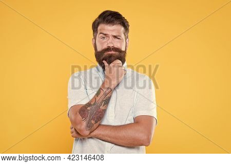 Just Fabulous Hair. Confident And Handsome Brutal Man. Charismatic Guy Looking Serious. Male Barber