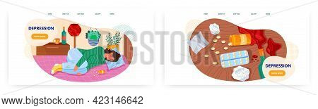Depression Landing Page Design, Website Banner Vector Template Set. Depressed Woman Lying On Bed Wit