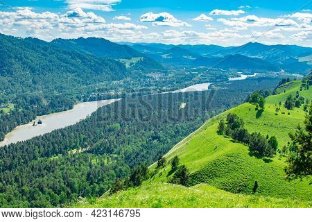 View From A High Hill, Summer Sunny Landscape Of A Mountain Valley Of Siberian Nature With A River,