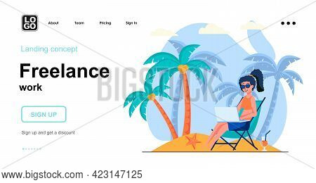 Freelance Work Web Concept. Woman Freelancer Working On Laptop Relaxing On Beach. Remote Worker. Tem