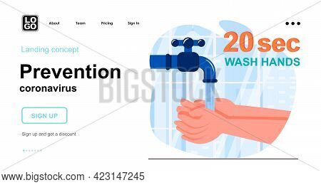 Prevention Coronavirus Web Concept. Wash Your Hands With Soap For 20 Sec. Hygienic Recommendation. T