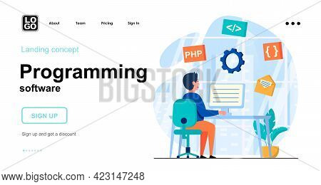 Programming Software Web Concept. Programmer Develops Application, Coding Code, Work On Computer. Te