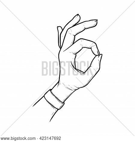 Okay Sign Meaning Acception And Perfection. Ok Hand Gesture Isolated In White Background. Outline Ve