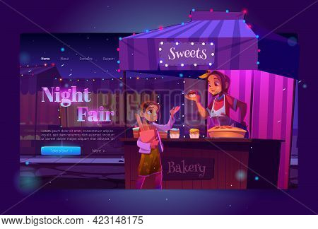 Night Fair Banner With Food Market On Street And Girl Buying Sweets. Vector Landing Page Of Festive