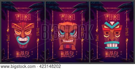 Tiki Bar Cartoon Ad Posters With Tribal Masks In Bamboo Frames And Palm Leaves. Promo Posters For Be