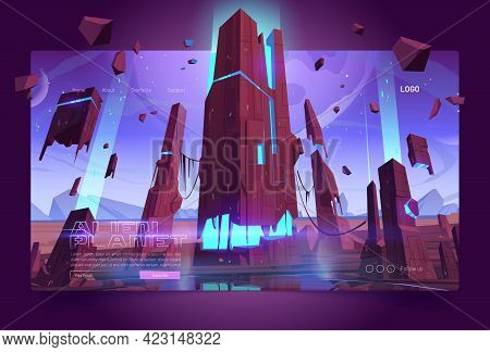 Alien Planet Banner With Land Surface And Futuristic Building Ruins With Glowing Blue Cracks. Vector