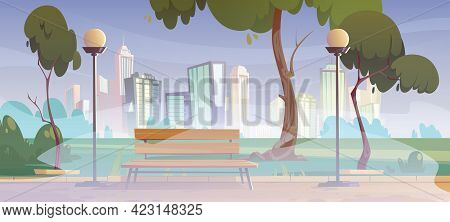 City Park With Green Trees, Grass, Wooden Bench And Lanterns In Fog. Vector Cartoon Summer Landscape