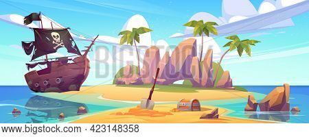 Tropical Island With Treasure Chest And Broken Pirate Ship. Vector Cartoon Sea Landscape With Sail B