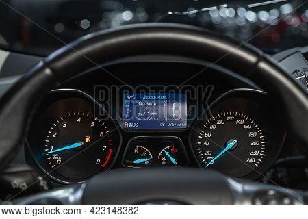 Novosibirsk, Russia - June 08, 2021: Ford Kuga, Speedometer, Tachometer And Steering Wheel Speedomet
