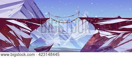 Winter Landscape With Mountains, Suspension Bridge Over Precipice And Ice Peaks. Vector Cartoon Illu