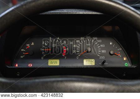 Novosibirsk, Russia - June 08, 2021: Niva 4*4, Speedometer, Tachometer And Steering Wheel Speedomete