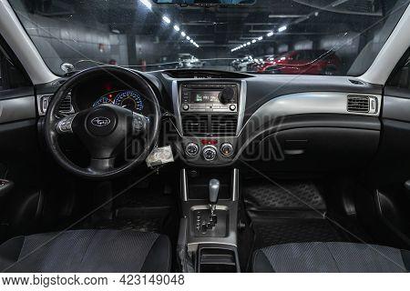 Novosibirsk, Russia - June 08, 2021: Subaru Forester, Car Interior With Dashboard, Steering Wheel, S