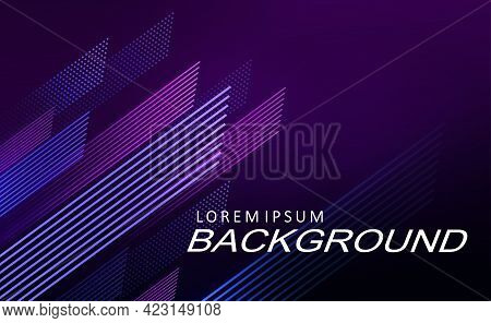 Illustration With A Gradient Of Dark Blue And Purple Shades, Thin Oblique Lines.