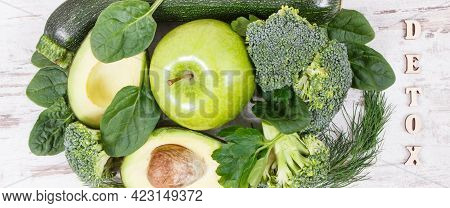 Inscription Detox With Fresh Green Fruits And Vegetables Containing Fiber, Natural Vitamins And Mine