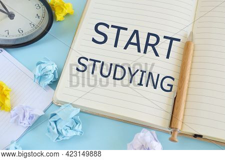 Start Studying Text Written In Notebook, Business Concept . Closeup Of A Personal Agenda.