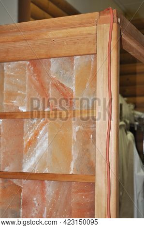 Halotherapy Room Construction. A Close-up Of A Salt Room, Salt Chamber Wall Built From Pink Himalaya