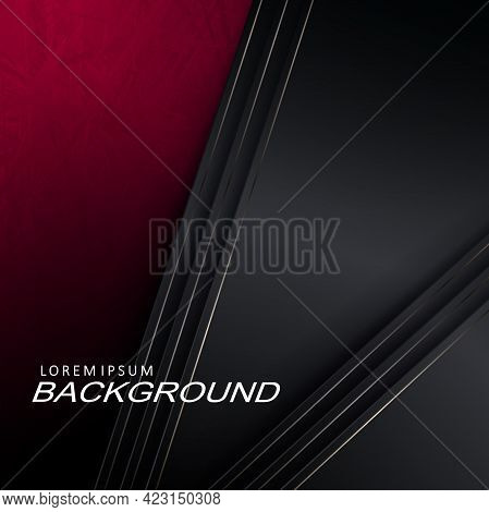 Abstract Illustration With A Gradient Of Red Tint, Oblique Gray Curtains With A Border.