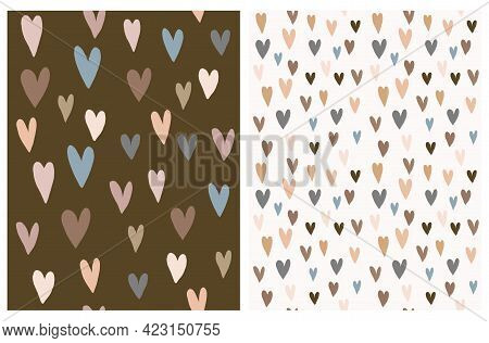 Cute Hand Drawn Irregular Hearts Vector Pattern. Beige, Blue, Grey And Brown Hearts On A Light Beige