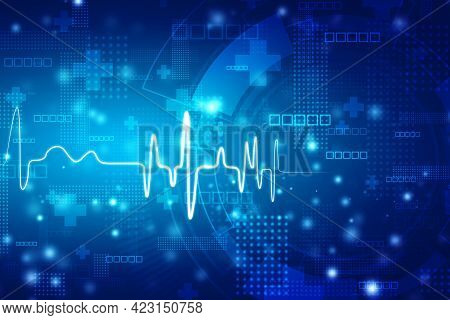 Medical Technology And Health Care Concept Background. Ecg Background, Heart Rate Graph. Ekg Heart B