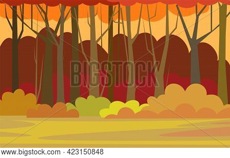 Forest Trees Illustration. Glade. Dense Wild Plants With Tall, Branched Trunks. Autumn Orange Landsc