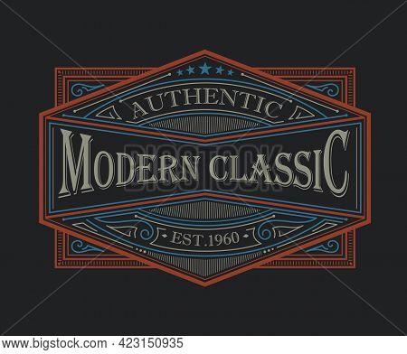 Antique Frame Vintage Border Western Label Engraving Retro Vector Illustration