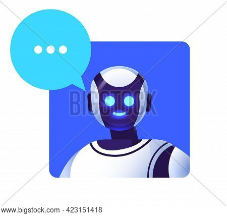 Cute Robot Cyborg With Chat Bubble Modern Robotic Character Artificial Intelligence Technology Commu