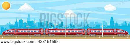 High Speed Train And Landscape With Cityscape. Super Streamlined Train. Passenger Express Railway Lo