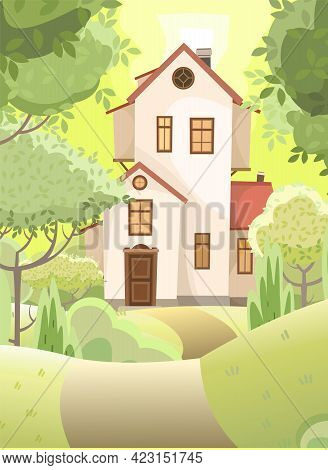 Cartoon House In The Woods Among The Trees. Hills. A Beautiful, Cozy Country House In A Traditional