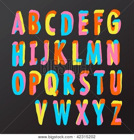 Alphabet design in colorful style