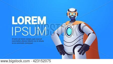Modern Robot Wearing Super Hero Cloak Artificial Intelligence Concept Horizontal