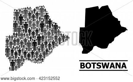 Map Of Botswana For Political Proclamations. Vector Demographics Collage. Collage Map Of Botswana Co