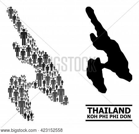 Map Of Koh Phi Don For Social Doctrines. Vector Population Abstraction. Abstraction Map Of Koh Phi D