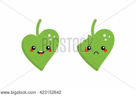 Couple Of Cute Cartoon Style Green Leaves Characters Smiling, Happy And Sad With Bite Mark.