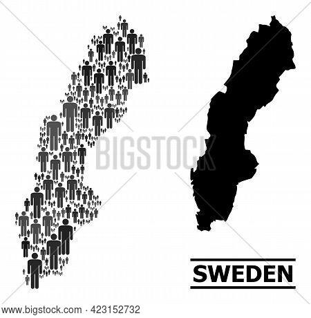 Map Of Sweden For Politics Agitprop. Vector Demographics Abstraction. Abstraction Map Of Sweden Done