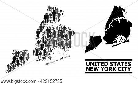 Map Of New York City For Demographics Promotion. Vector Demographics Collage. Concept Map Of New Yor