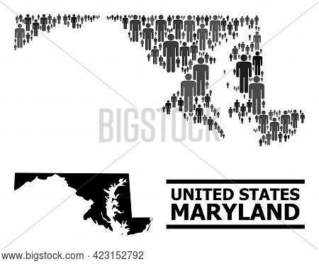 Map Of Maryland State For Political Propaganda. Vector Population Abstraction. Concept Map Of Maryla