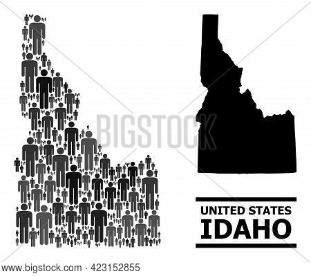 Map Of Idaho State For Demographics Agitation. Vector Nation Collage. Composition Map Of Idaho State