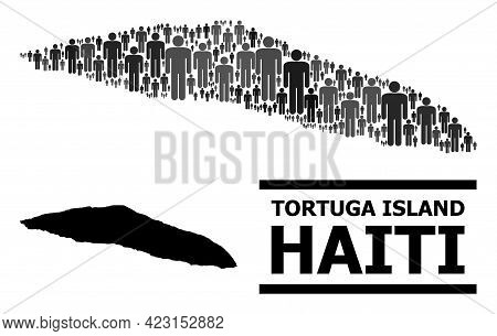 Map Of Haiti Tortuga Island For Demographics Posters. Vector Demographics Mosaic. Abstraction Map Of