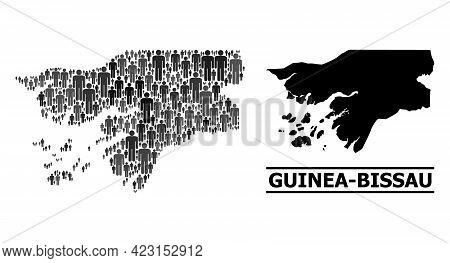 Map Of Guinea-bissau For Political Agitprop. Vector Population Collage. Collage Map Of Guinea-bissau