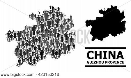 Map Of Guizhou Province For Politics Posters. Vector Population Abstraction. Composition Map Of Guiz