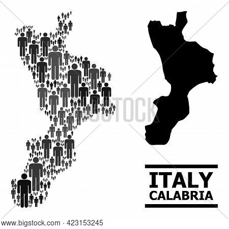 Map Of Calabria Region For Social Applications. Vector Nation Abstraction. Concept Map Of Calabria R