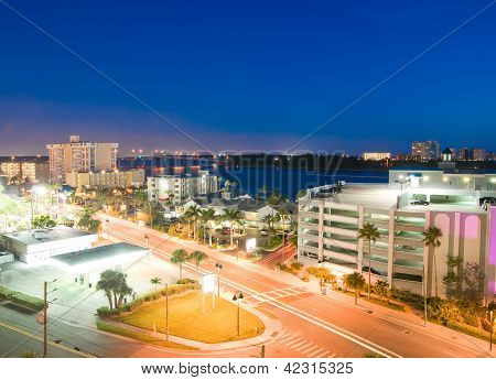 Night View Of Clearwater At Tampa Florida Usa