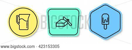 Set Line Milk Jug Or Pitcher, Butter In A Butter Dish And Ice Cream. Colored Shapes. Vector