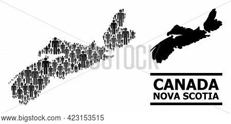 Map Of Nova Scotia Province For Demographics Doctrines. Vector Demographics Collage. Concept Map Of