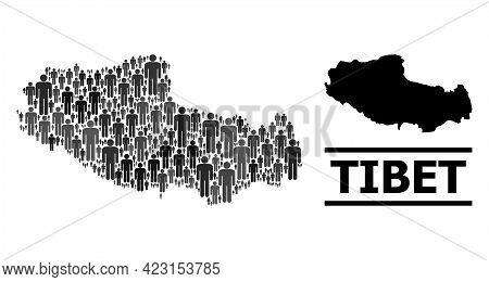 Map Of Tibet For Demographics Agitation. Vector Demographics Collage. Collage Map Of Tibet Done Of P