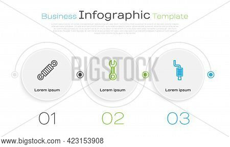 Set Line Shock Absorber, Wrench Spanner And Car Muffler. Business Infographic Template. Vector