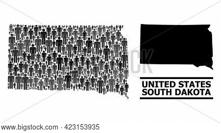 Map Of South Dakota State For Demographics Proclamations. Vector Demographics Abstraction. Collage M